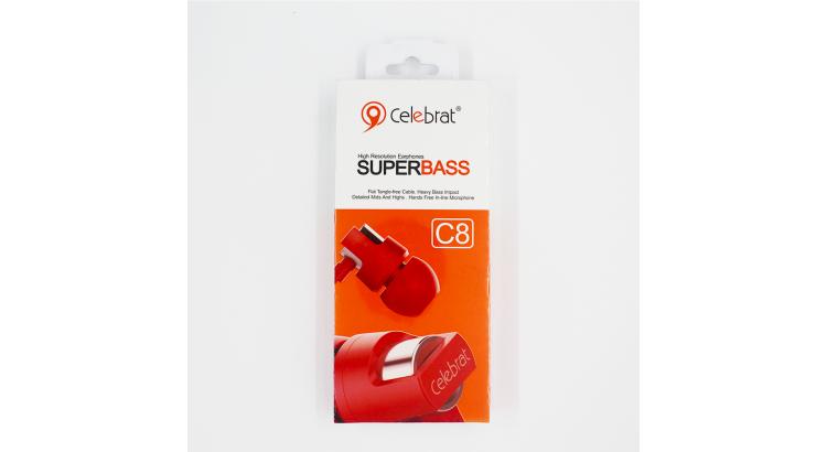 Celebrat Kırmızı C8 Super Bass Kablolu Kulaklık