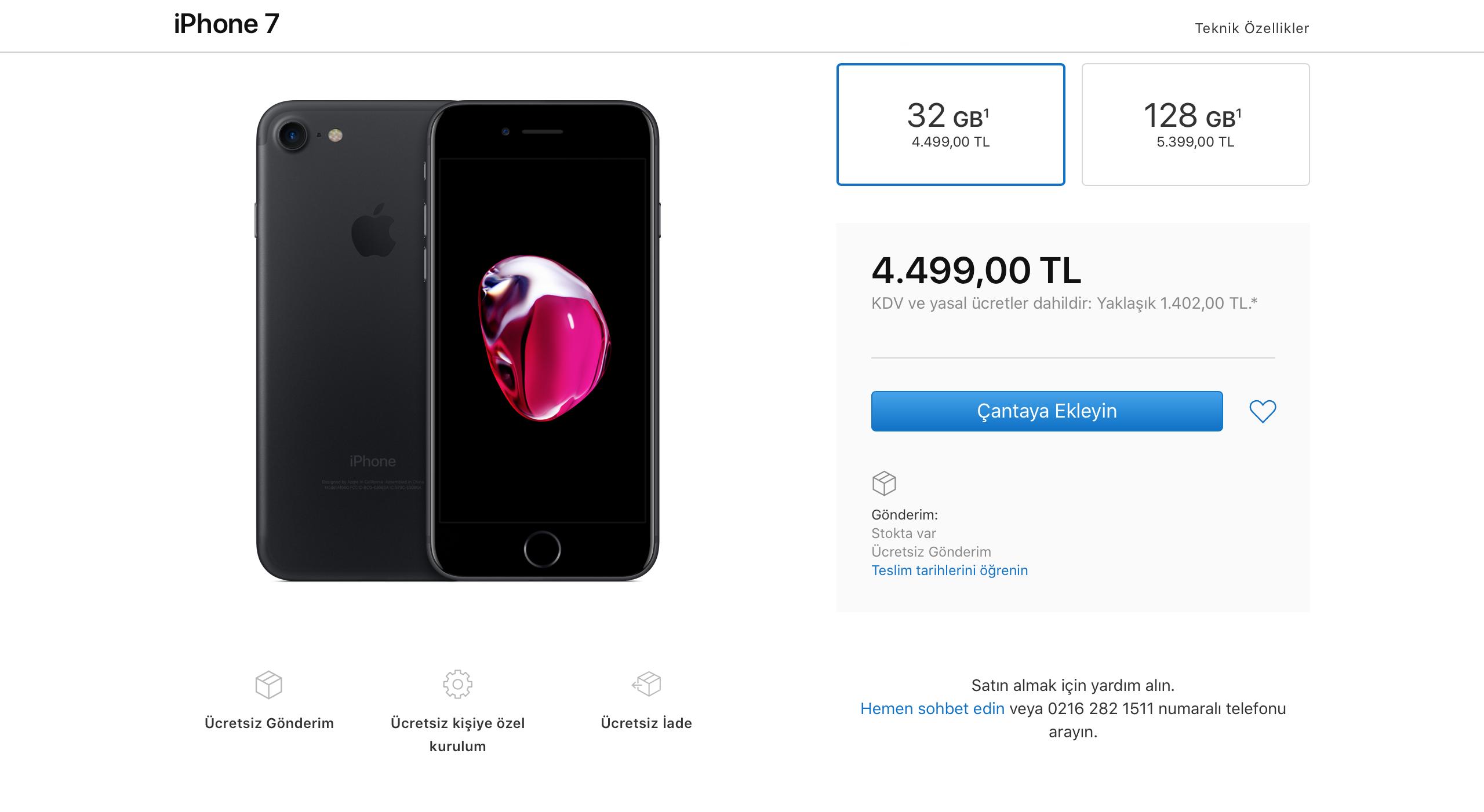 iphone 7 apple fiyatı